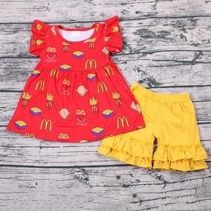 Hamburger Top and Short Fashion Cute Reusable Baby Girl Clothes 2pcs Outfit Silk Kids Clothing Set(China)