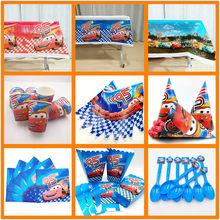 Disney Cars Lightning Mcqueen Baby Happy Birthday Party Supplies Decoration Disposable Tableware Tablecloth Plates Favors Gifts(China)