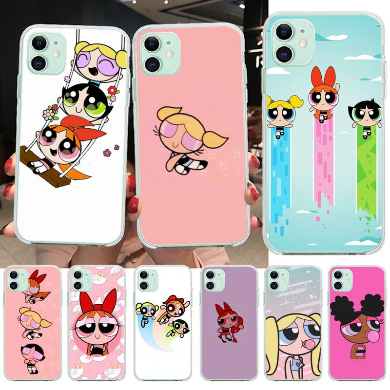 Cartoon Lovely Power Girls Puff Phone Case For iphone 12 11Pro Max Mini XS Max 8 7 6 6S Plus X 5S SE 2020 XR Silicone Soft Cover