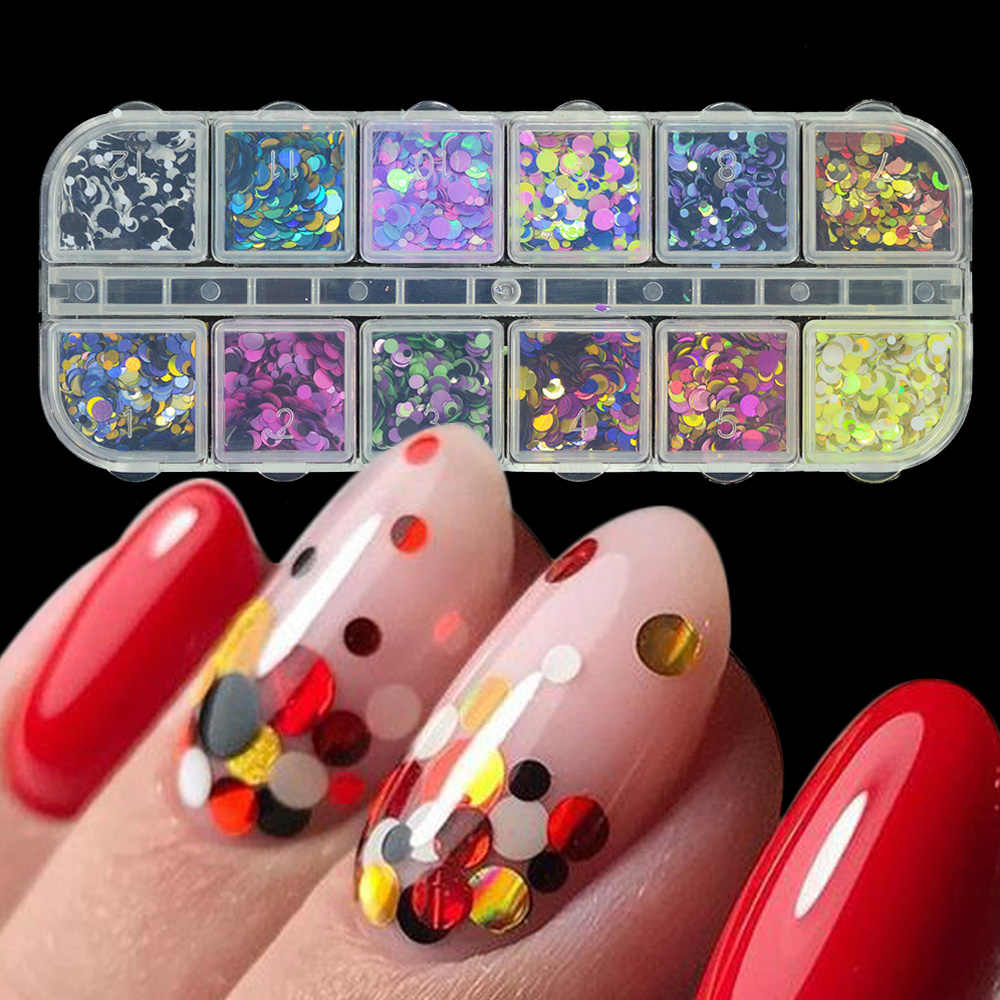 1 Set Campuran Warna 3D Ultrathin Payet Nail Glitter Flakes 1/2/3Mm Gemerlapan DIY Tips Mempesona paillette Nail Art Dekorasi TRP