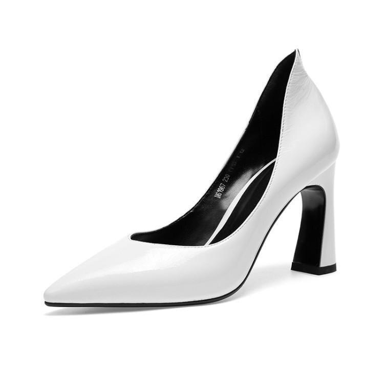 Tacones altos mujer primavera y otoño zapatos de tacón grueso mujer zapatos de cuero blanco zapatos de mujer PU8.5cm blanco tacones - 5