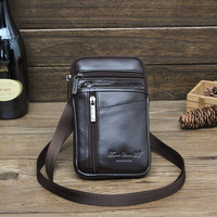 Men Genuine Leather Fanny Waist Bag Cell/Mobile Phone Coin Belt Bum Pouch with Shoulder Strap Free Shipping