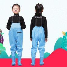 Dziewczęta chłopcy PU spodnie przeciwdeszczowe z butami wodoodporne spodnie dziecięca odzież wierzchnia stroje dziecięce dzianina Liner długość buta 13-22cm