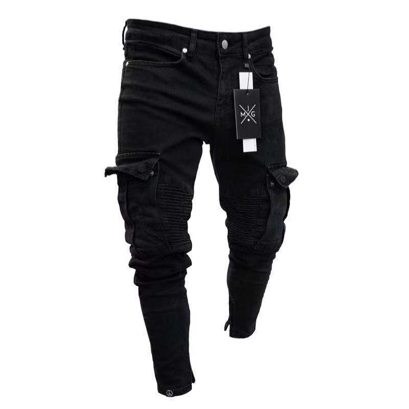 2020 Men's Fashion Thin Skinny Long Pencil Pants Ripped Jeans Slim Spring Hole Jeans For Men Hiphop Trousers