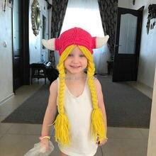 Mr. Kooky, Женский шлем Викинга, шапочка для женщин, девочек, милый зимний парик, косички, шапка, Gorros, детский подарок на день рождения, ручная работа, вязанная Балаклава