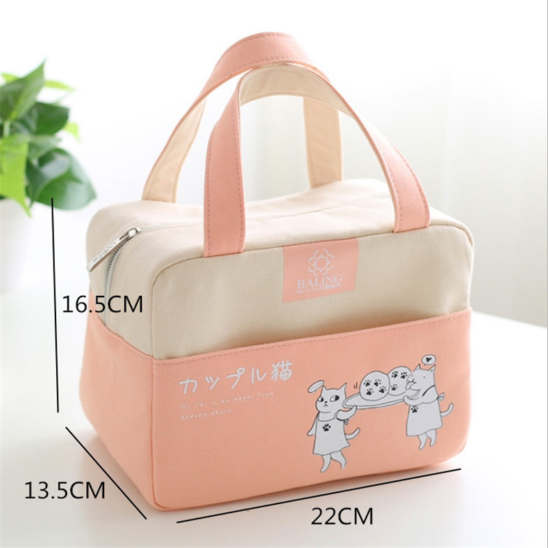 Functional Pattern Cooler Lunch Box Portable Insulated Canvas Lunch Bags For Women Kids School Food Storage Bags Picnic Tote