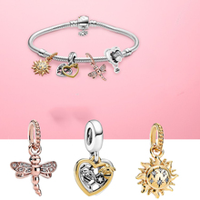 цена на Rose Shine Dragonfly Charms 925 Silver Shine Sun Bee Charm Fit Original pandora Bracelet DIY Jewelry