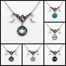2019/a nova deusa lua tripla simboliza o crescente lua pingente de cristal colar, senhoras lua pingente colar jóias.