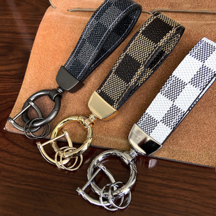 2020 New Luxury Leather Key Chain Square Leopard Pattern Leather Circle Buckle Keychains Auto Car Waist Key Chain Key Holder