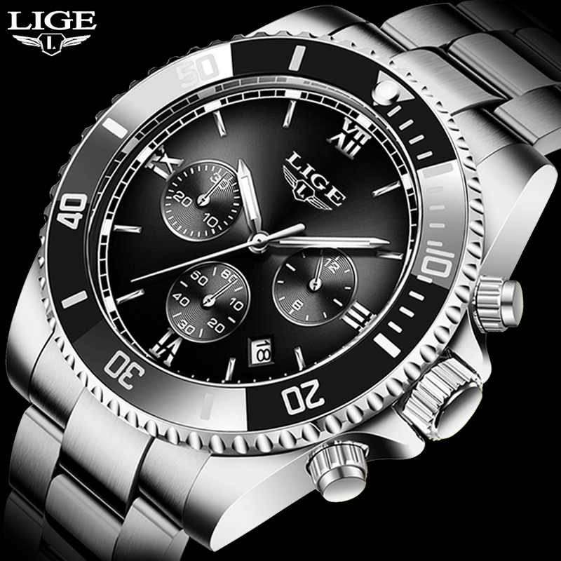 LIGE Top Brand Luxury Men Watches Sapphire Automatic Mechanical Watch Men Stainless Steel Waterproof Business Sport Watch Male 1
