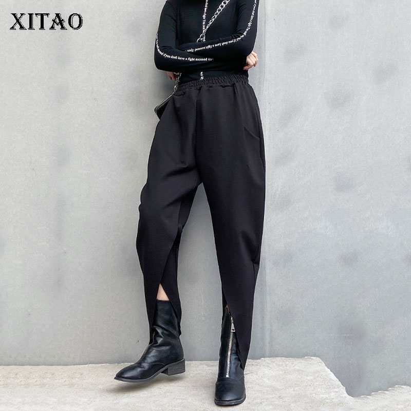 XITAO Black Women Pants Women 2020 Spring Elegant Elastic Waist Pocket Small Fresh Casual Loose Black Ankle Length Pants DMY3137