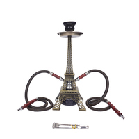 New Metal Paris Tower Shisha Pipe Glass Base Hookah Set with Double Hoses Ceramic Bowl Charcoal Tongs Chicha Narguile