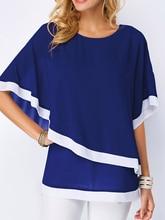 Chiffon Patchwork Irregular Blouse Shirts Casual Sexy Batwing O Neck Women Summer Blouses Tops Shirt стоимость