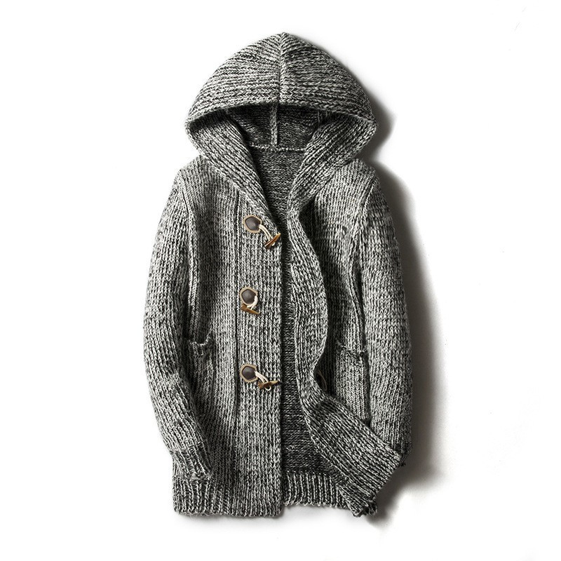 2020 Hooded Mens Sweater Cardigan Large Size M-5XL Knitted Outwear Coat Personality Buckle Design Long Coat Jaqueta Masculino
