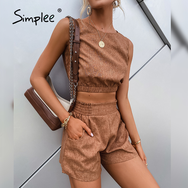 Simplee Casual Brown Women's Two-piece Suits High Street Solid Sleeveless Short Top Shorts Sets Summer Office Ladies Suits 2021 3