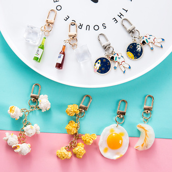 Dayoff Lovely Popcorn Keychain Keyring For Women Girl Jewelry Simulated Food Cute Car Key Holder Keyring Charm Couple Gift image
