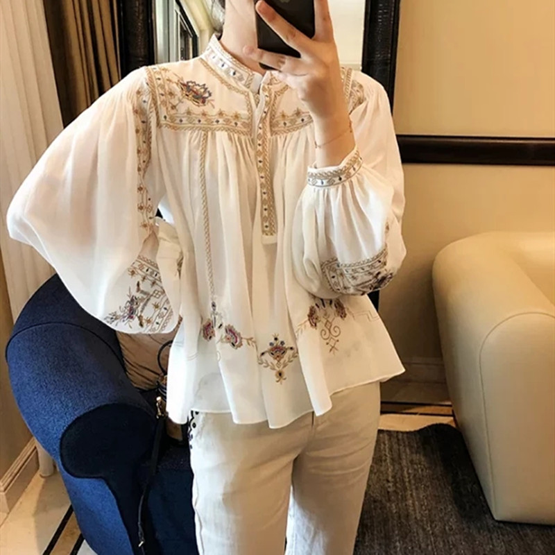 Women's Shirt Long Lantern Sleeve O-neck Floral Embroidery Covered Button Loose Female Casual Blouse Spring Autumn