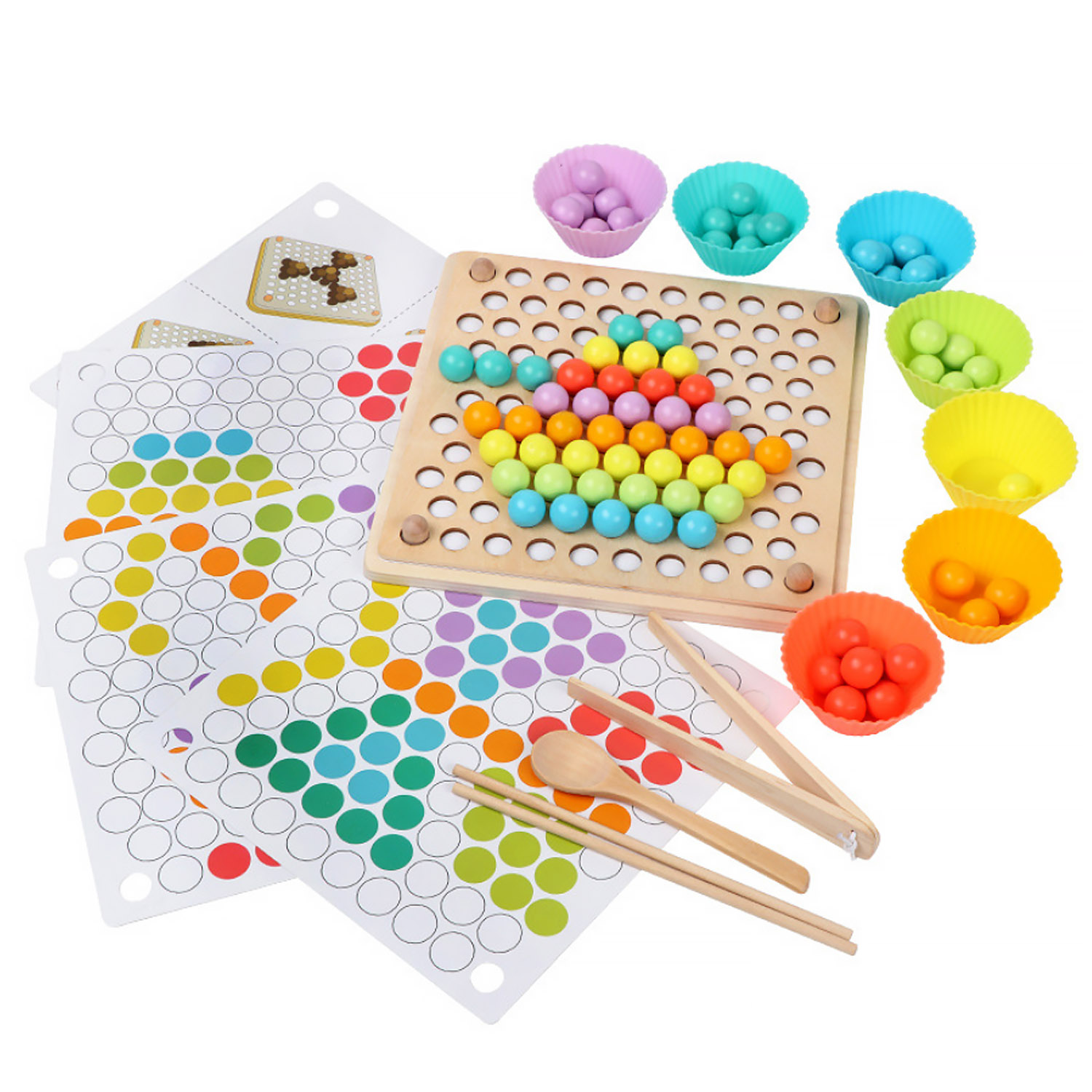 Kids Montessori Wooden Toys Hands Brain Training Clip Beads Chopsticks Beads Toys Early Educational Puzzle Board Math Game Toys image