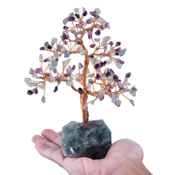 TUMBEELLUWA Natural Crystal Money Tree with Gemstone Base Figurine Ornaments for FengShui Wealth Lucky Home Decor Birthday Gift turtle tortoise figurine 2 nice gemstone opalite crystal carved statue crafts home decor