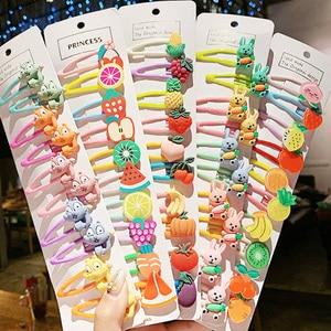 1Set Girls Cute Cartoon Animal Fruit Colorfur Hairpins Children Sweet Hair Clip Barrettes Headband Kids Fashion Hair Accessories