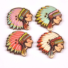 25PCS Indian Style Character Avatar Printing Color Buckle DIY Creative National Wooden Button Jewelry Accessories 30X31mm