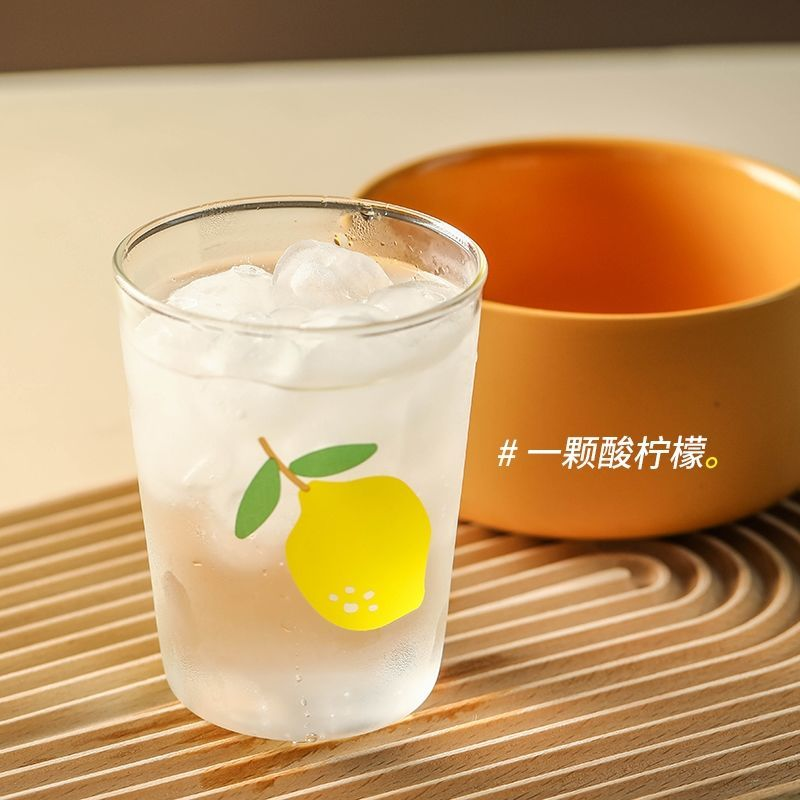 Original Ins Wind Online Celebrity Fruit Series Printing Water Cup Home Simple Juice Soda High Temperature Glass Cup Drinking