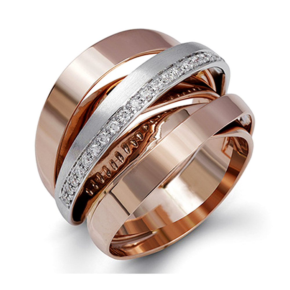 Layered cross rings for women AAA zircon diamonds white rose gold color fashionable irregular anillos jewelry party accessories