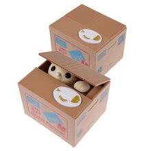 Gato dinheiro banco caixa de poupança de dinheiro elétrico roubar automatizado panda mealheiro roubou moeda moneybox ornamento ferramenta crianças brinquedos presentes