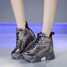Rimocy metal silver chunky platform sneakers women winter warm super high heels