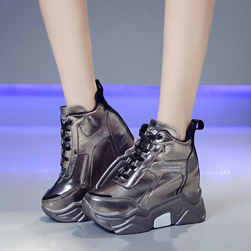 Rimocy metal silver chunky platform sneakers women winter warm super high heels casual shoes woman height increasing boots mujer