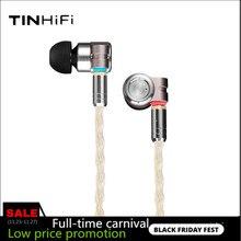 TinHIFI auriculares intrauditivos híbridos HIFI T3 1BA + 1DD con Monitor IEM y Cable OFC SPC MMCX chapado en oro, T4 P1 T2