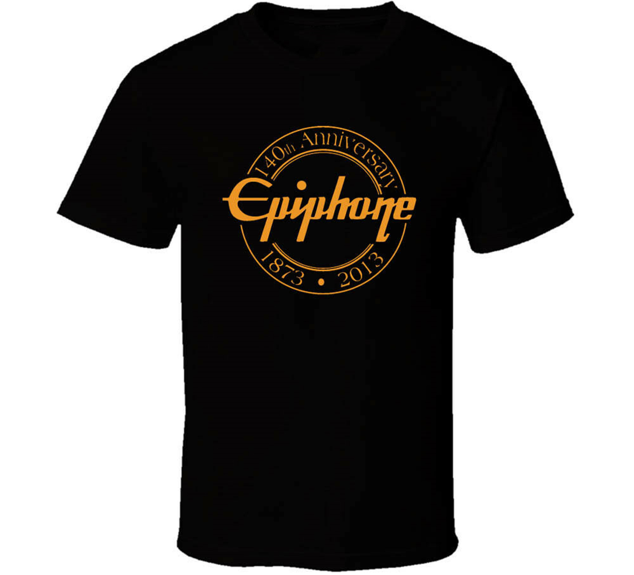 Epiphone 1873 2013 140 Years Black White Tshirt Men's Free Shipping T-Shirt Homme Customized