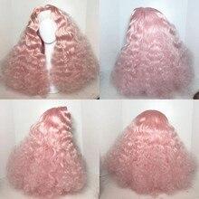 Длинные вьющиеся розовые синтетические кружевные передние парики парик вечерние для женщин Ежедневное ношение бесклеевые предварительно ...