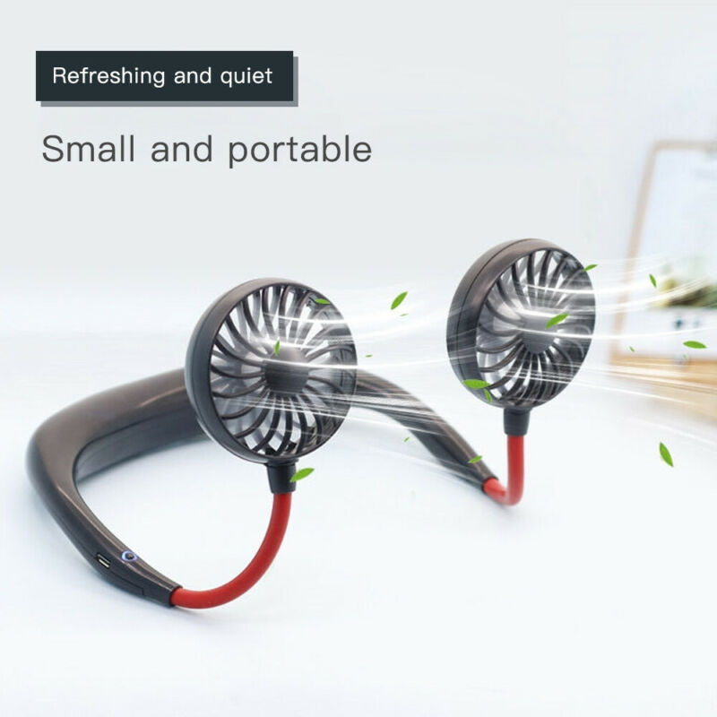 New USB Rechargeable Wearable Portable Hand Free Neckband Fan Personal Mini Neck Double Fans 3 Speed Adjustable For Home Office
