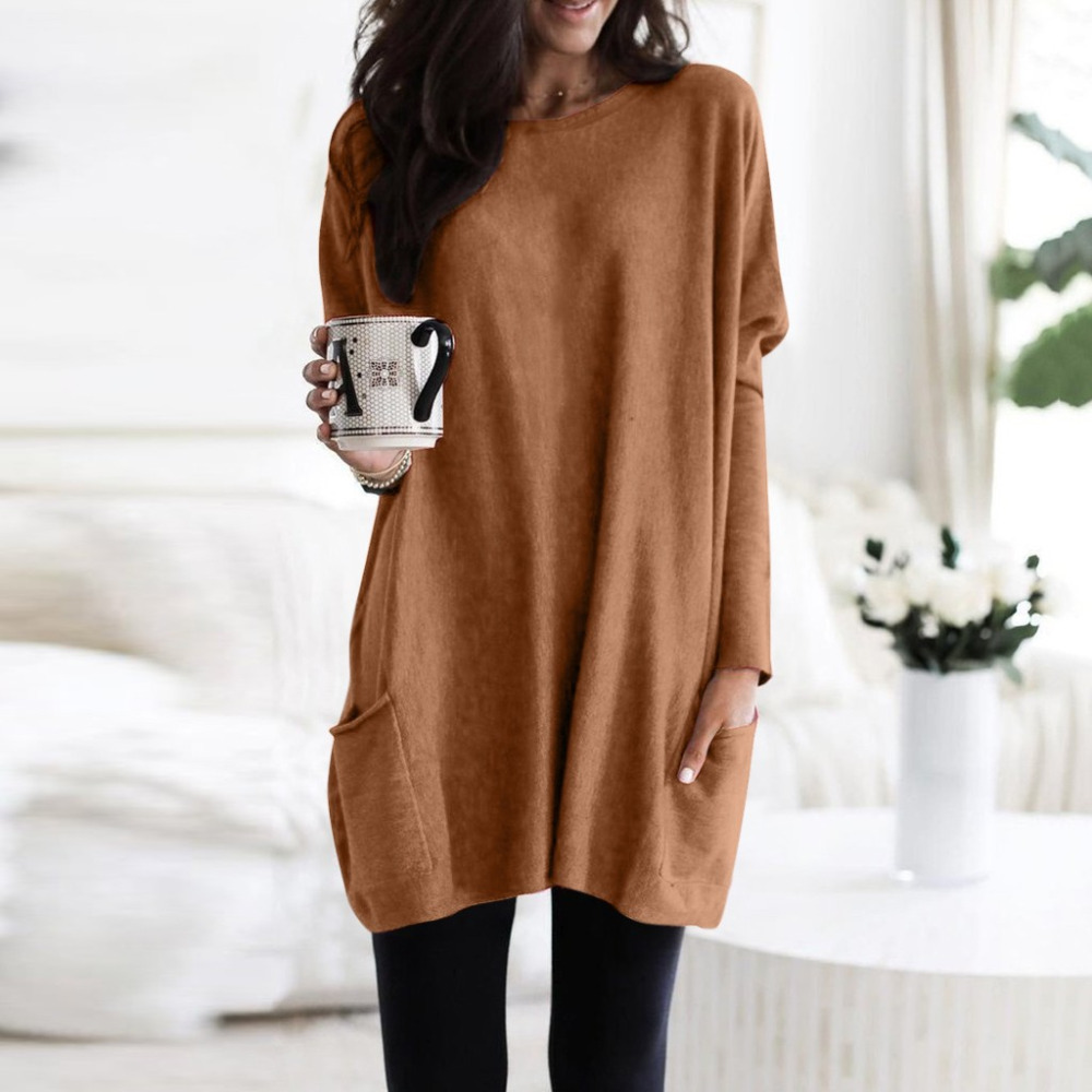 Womens Solid Warm Long Sleeve Sweatshirt Loose Pocket Daily Pullover Tops #4O08 (52)