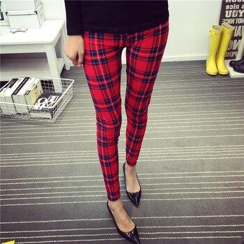 CUHAKCI Women Leggings Fashion Plaid Printing Legging Sexy Leggings Fitness Leggins Grid Floral Stripe Trouser High Waist Pants