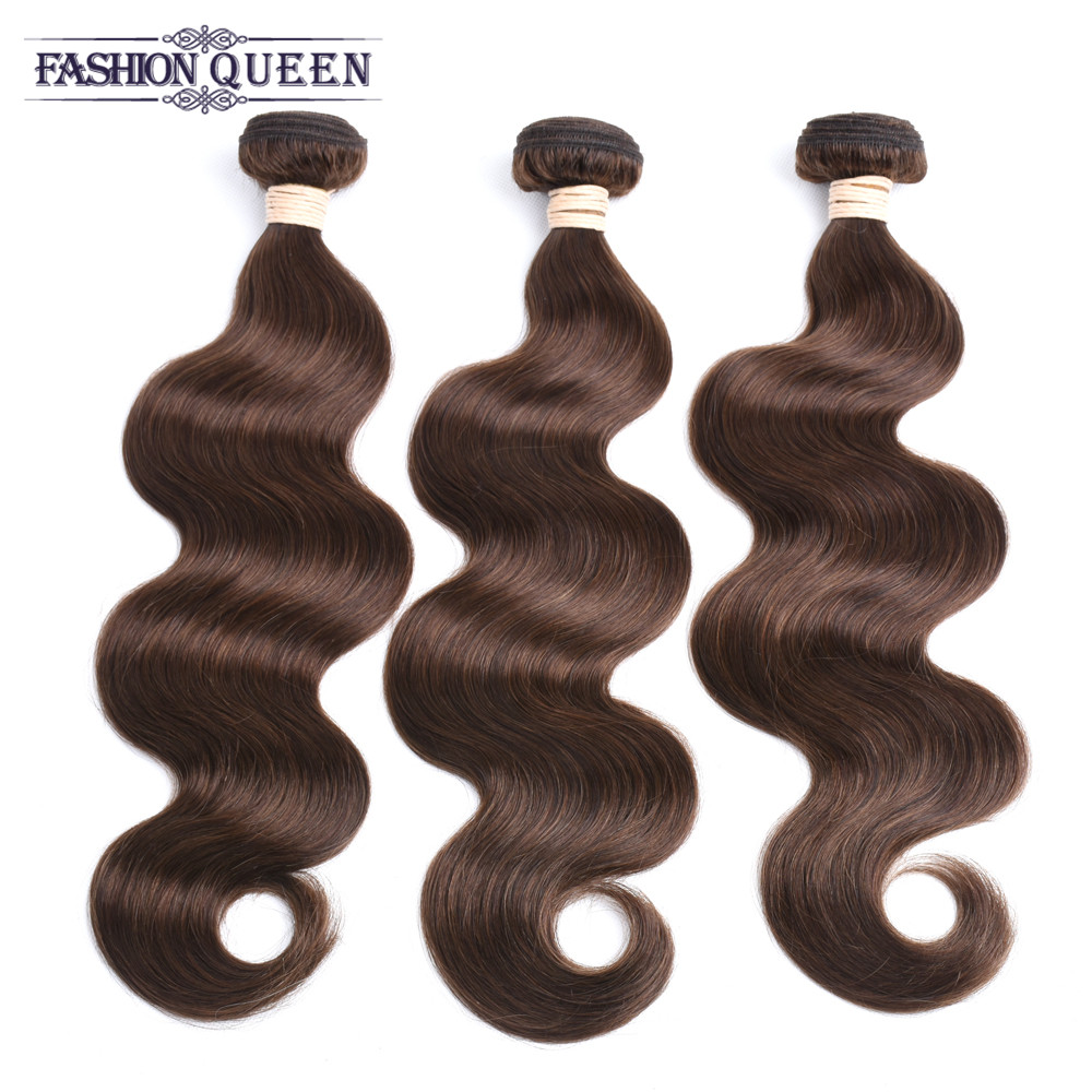 Pre-Colored Malaysian Body Wave 4# Light Brown Hair 3 Bundles Pack Non Remy  Bundles Free Shipping Fashion Queen