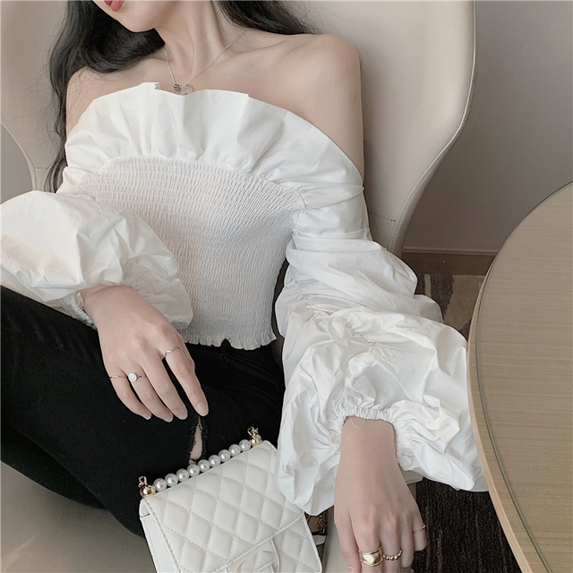 Off Shoulder Ruffle Sleeves Top Online for Women