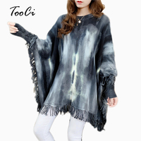 Womens Capes And Ponchoes Autumn Winter Women Fashion Black Tassel Long Sleeve Pullovers Plus Size Women Knitted Sweater Coat