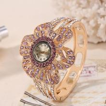 Wrist Watch Women Flower Shape Jewelry Bracelet Wat