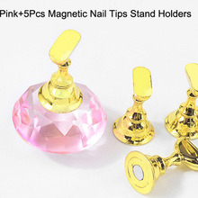 1PCS Nail Holders + 5pcs Practice Display Gold&Silver&Crystal Holder Display Stand Practice Nail Tips Salon Displays Stand Tools 5pcs lot showing shelf false nail tips display stand holder set gold magnetic practice holders manicure nail art salon tools