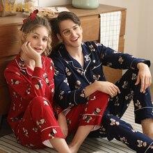 New Pijamas Hombre 100% Cotton Long Sleeves Lapel Men and Women Sleepwear Cute Bears Print Cardigan Brand Pajamas Couple Pyjama