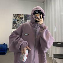 Inverno jaqueta feminina moletom novo zíper grosso grande bolso moletom cor sólida revestimento coreano solto selvagem hoodie