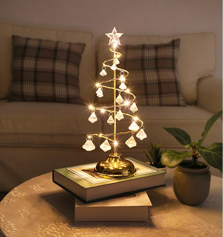 New Year Decoration Christmas Tree Crystal Table Lamp Led Fairy Lights Garland Outdoor Home For Wedding/Party/Curtain/Garden