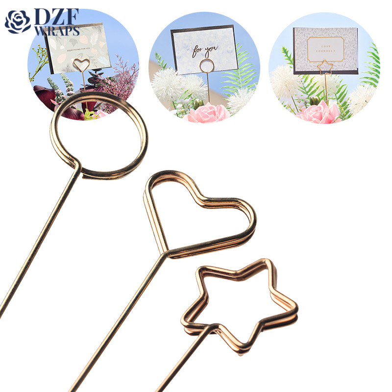 10pcs High Grade Gold-plated Fresh Flower Bouquet Metal Card Holder Inserts Greeting Cards Clip