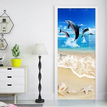3D puerta etiqueta Wallpaper HD Sandy concha de playa estrella de mar delfín cartel pared Mural de bricolaje auto-adhesivo habitación dormitorio