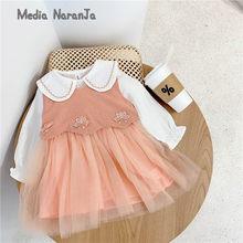 2021 spring children new orange vest +dress suit wedding girl clothes