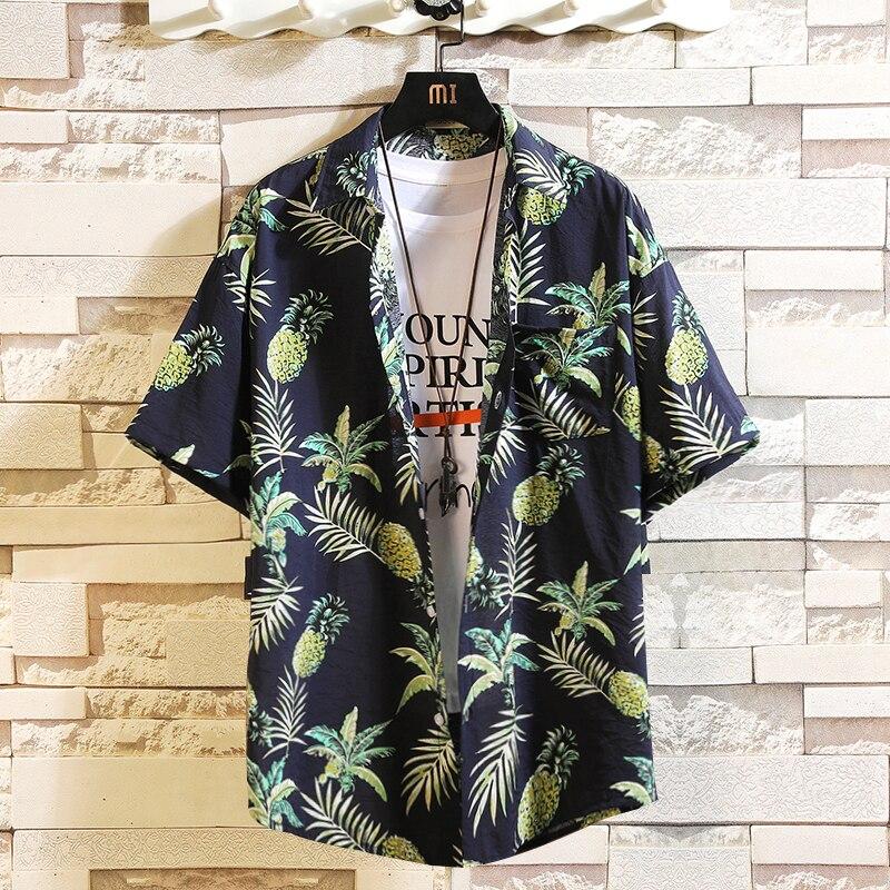 Print Brand 2019 Summer Men's Beach Shirt Fashion Short Sleeve Floral Loose Casual Shirts Plus Asian SIZE M-4XL 5XL Hawaiian