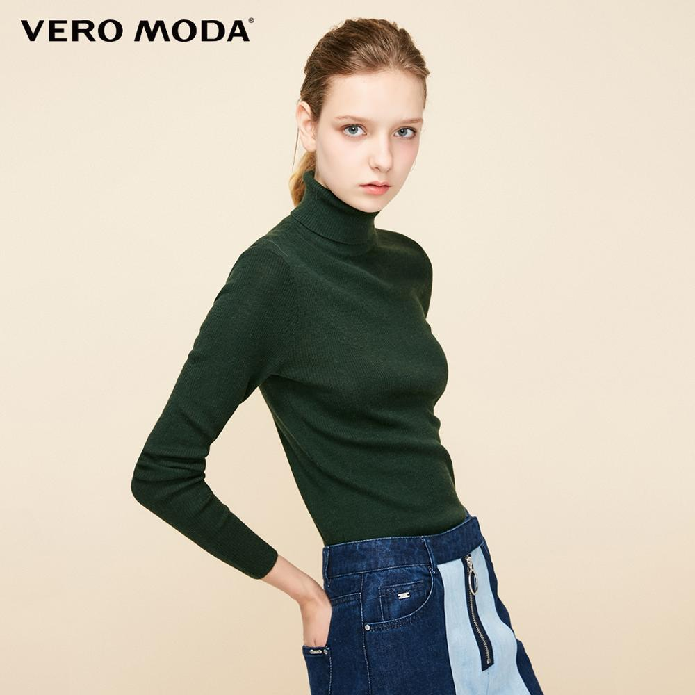 Vero Moda Women's 100% Wool Solid Slim Fit Stretch Minimalist Knitted Base Top Turtleneck Knitted Sweater | 318324522