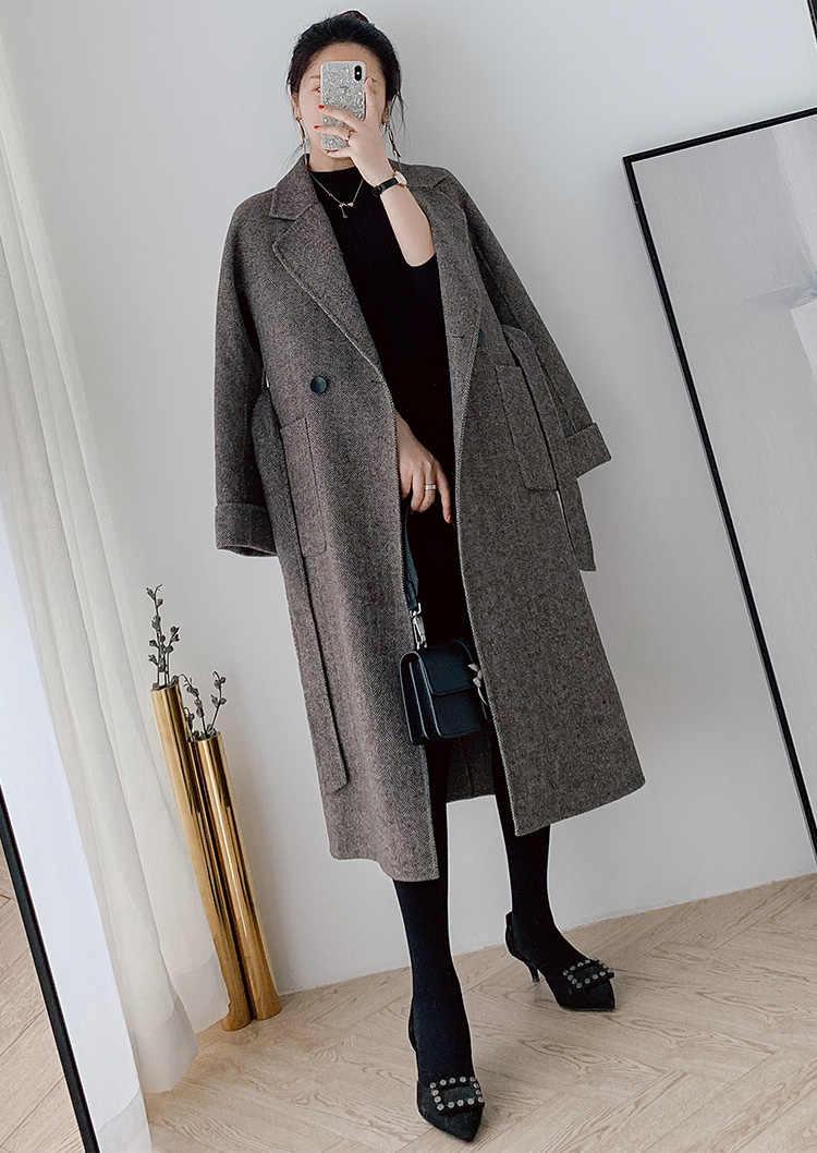 2019 frauen Woolen Mantel Elegante Drehen Unten Kragen Frauen Lange Woolen Mantel Dunkelgrau Design Winter Warme Mantel Casaco Feminino